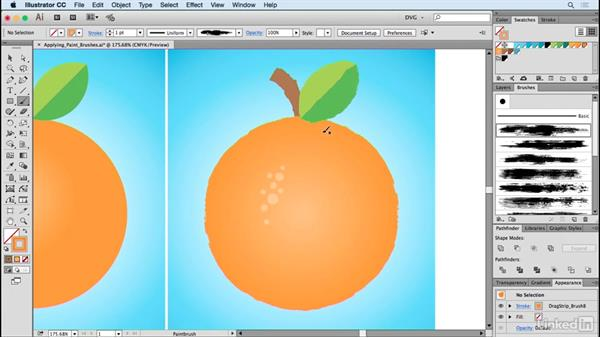 Applying paint brushes: Drawing Vector Graphics: Painting with Vectors