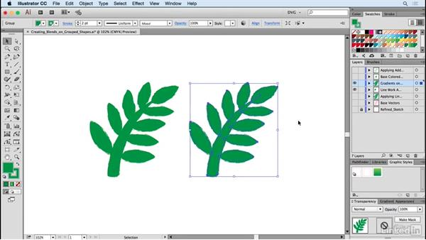 Creating blends on grouped shapes: Drawing Vector Graphics: Painting with Vectors