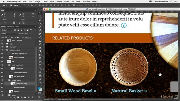 Adding the link color to the related products section: Design the Web: Control Colors in Photoshop with SmartObjects