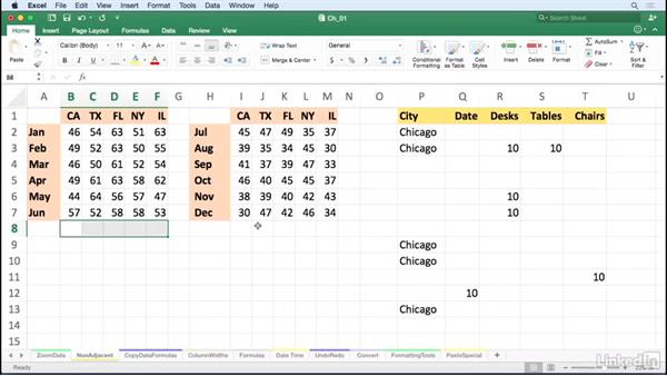Enter data or formulas in nonadjacent cells simultaneously: Excel for Mac 2016 Tips and Tricks