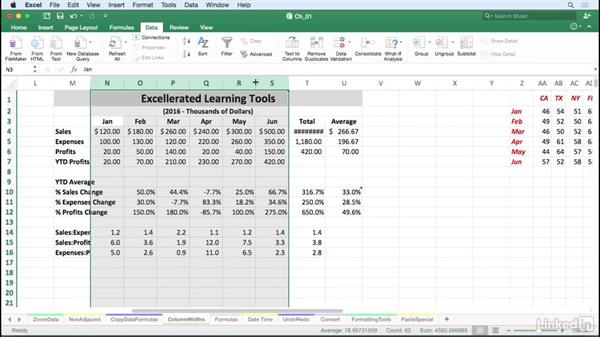 Adjust all or selected column widths or row heights instantly: Excel for Mac 2016 Tips and Tricks