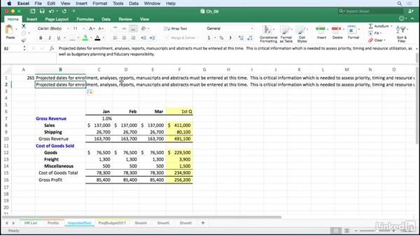 Realign imported text: Excel for Mac 2016 Tips and Tricks
