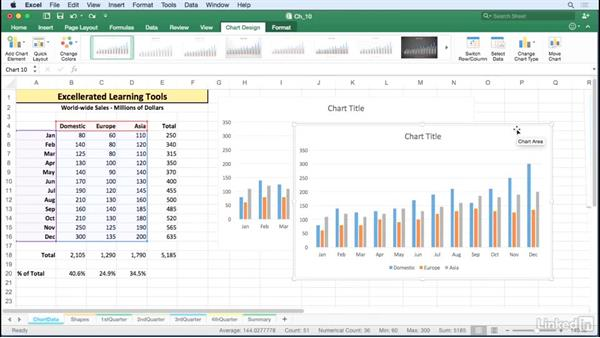 Manipulate chart placement with dragging techniques: Excel for Mac 2016 Tips and Tricks
