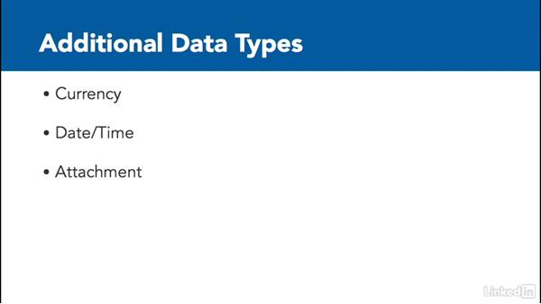Define data types: Learn Access 2016: The Basics
