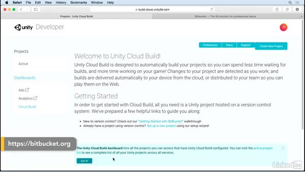 Create Unity Cloud Build and Bitbucket accounts: Unity Cloud Build with Git
