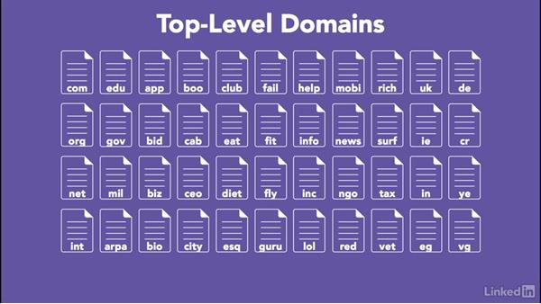 Recognizing the names of common top-level domains: Managing DNS Essential Training