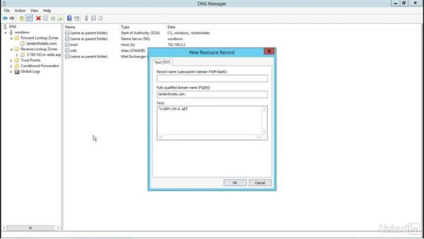 Windows Server 2012: Adding SRV and SPF records: Managing DNS Essential Training