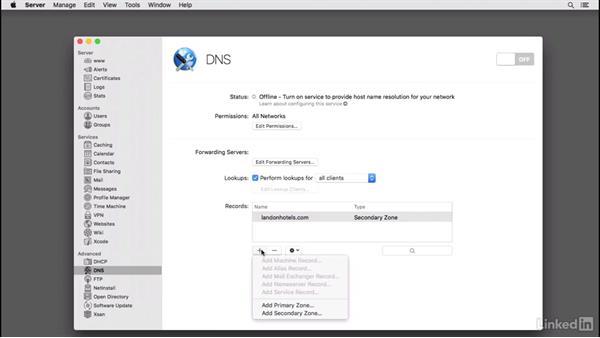OS X Server: Set up a secondary zone for redundancy: Managing DNS Essential Training