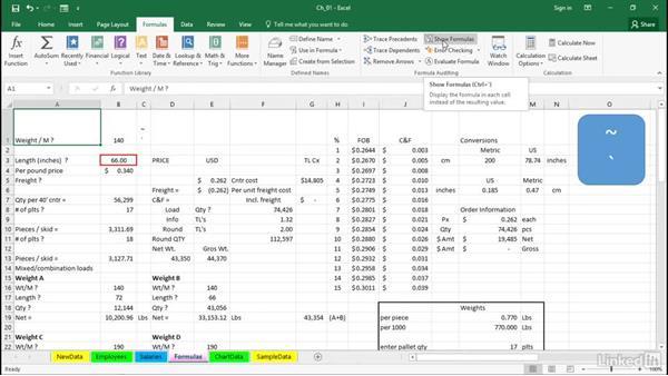 Display all worksheet formulas instantly: Excel 2016 Tips and Tricks