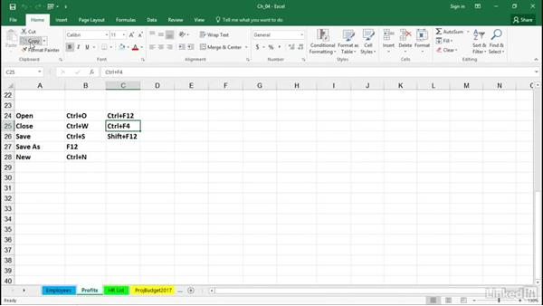 Open, close, save, and create new workbooks with keystrokes: Excel 2016 Tips and Tricks