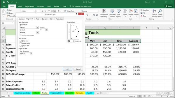 Accentuate data with alignment tools: Excel 2016 Tips and Tricks