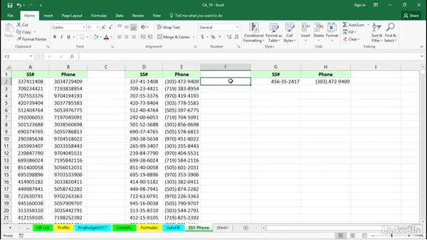Quickly format phone and SS numbers: Excel 2016 Tips and Tricks