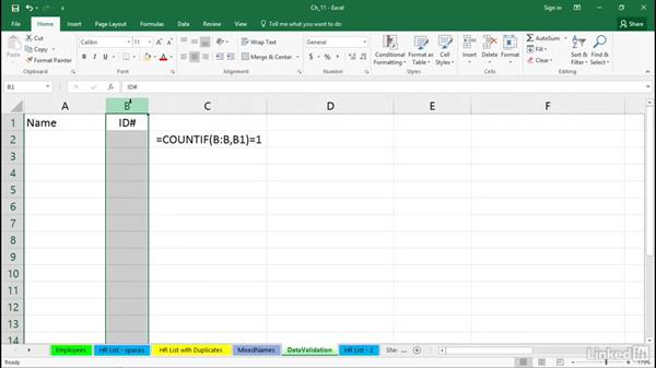 Ensure unique entries with data validation rules: Excel 2016 Tips and Tricks