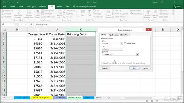 Force typed dates to be weekdays only with data validation rules: Excel 2016 Tips and Tricks