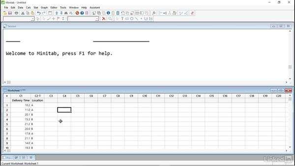 Input and organize data: Introduction to Minitab