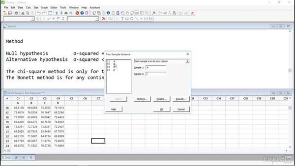 Compare variances: Introduction to Minitab