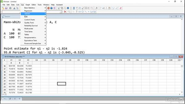 Compare medians with nonparametric tests: Introduction to Minitab