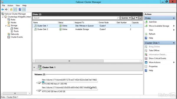 Configure cluster storage: Windows Server 2012 R2: Configure and Manage High Availability