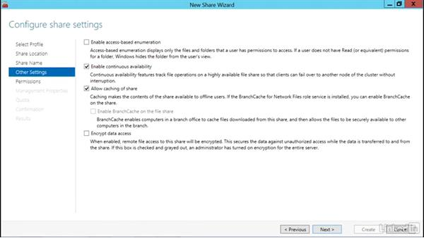 Create continuously available file shares: Windows Server 2012 R2: Configure and Manage High Availability