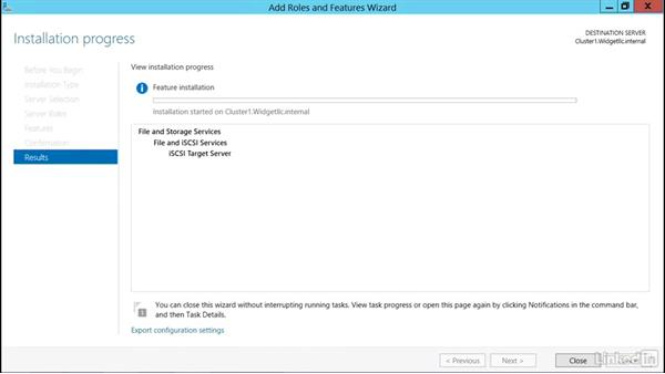 Add the iSCSI target role in clustering: Windows Server 2012 R2: Configure and Manage High Availability
