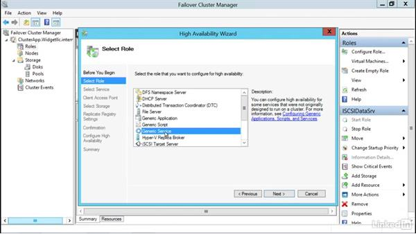 Add the generic service cluster role: Windows Server 2012 R2: Configure and Manage High Availability