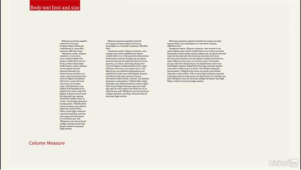Body text size: InDesign: Elements of a Layout