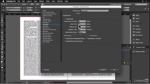 Body text alignment: InDesign: Elements of a Layout