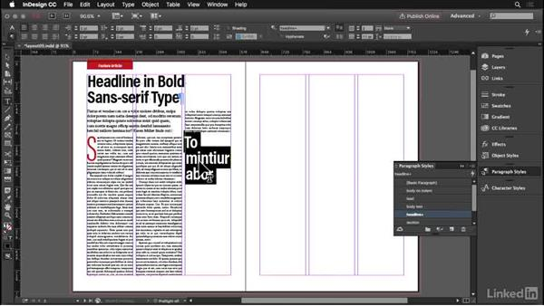 Subheads: InDesign: Elements of a Layout