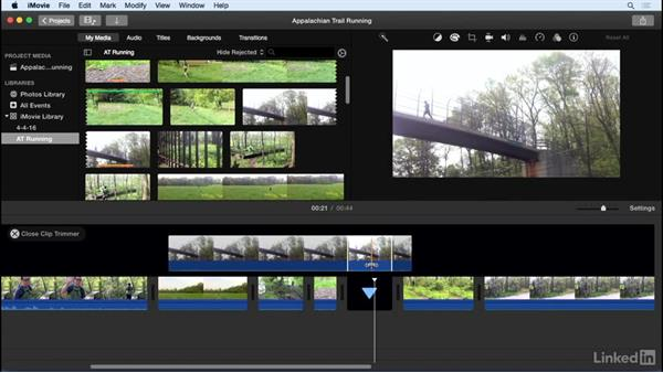 Use the trimming and slip editing tools: iMovie 10.1.1 Essential Training