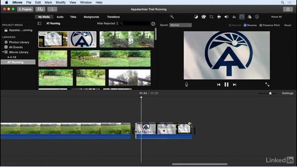 Adjust the speed of clips: iMovie 10.1.1 Essential Training
