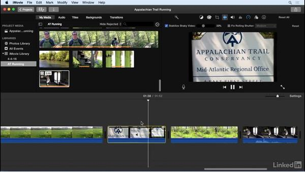 Stabilize video: iMovie 10.1.1 Essential Training