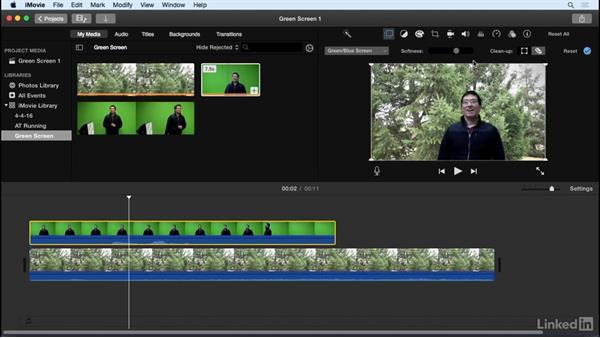 Use green-screen effects: iMovie 10.1.1 Essential Training