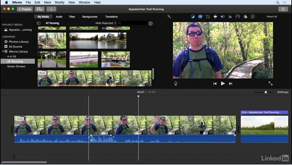 Adjust audio levels and position: iMovie 10.1.1 Essential Training