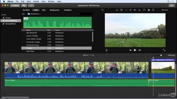 Add music and sound effects: iMovie 10.1.1 Essential Training