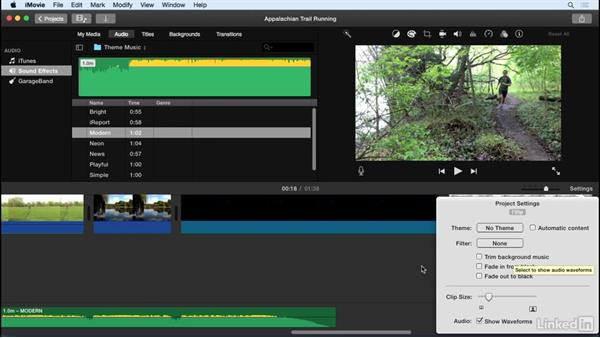 Add background music: iMovie 10.1.1 Essential Training