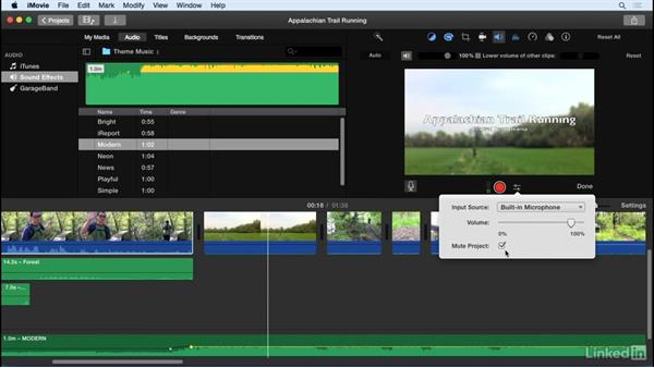 Record a voice-over: iMovie 10.1.1 Essential Training