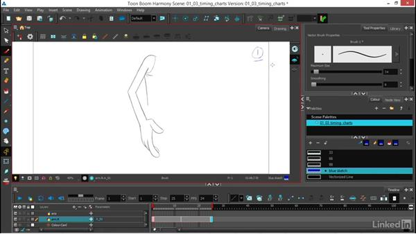 Making charts for timing, spacing, and arcs: Traditional 2D Animation in Harmony