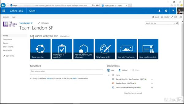Navigate, browse, and search in a site: SharePoint Online Essential Training