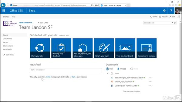 Follow a site: SharePoint Online Essential Training