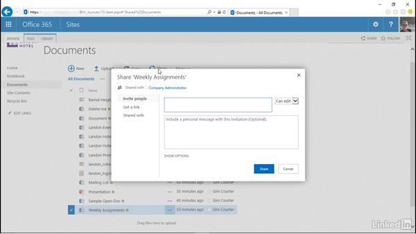 Share a file, library, or site: SharePoint Online Essential Training