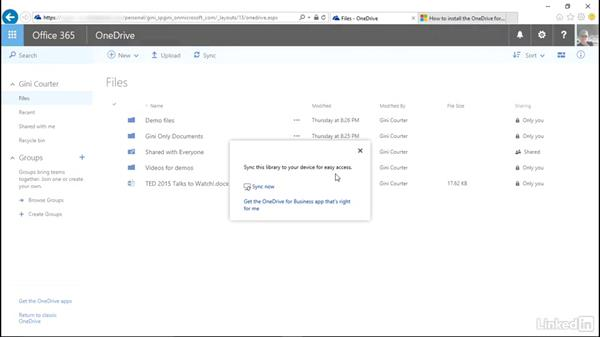 Sync OneDrive to your computer: SharePoint Online Essential Training