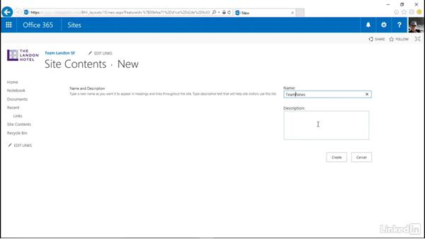 Add a built-in app to your site: SharePoint Online Essential Training