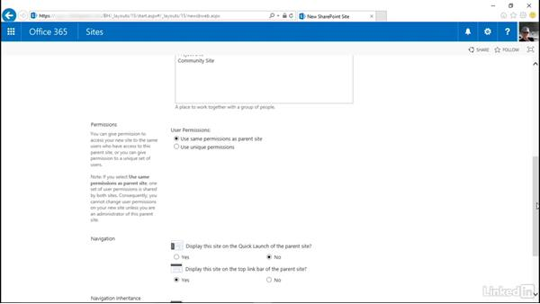 Create a site: SharePoint Online Essential Training