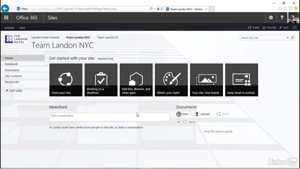 Modify site navigation: SharePoint Online Essential Training