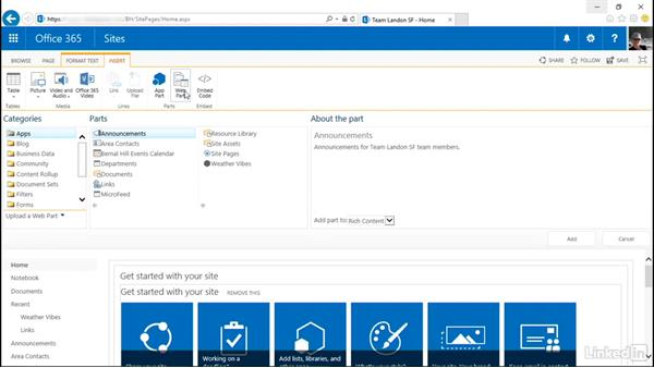 Web Parts and App Parts: The basics: SharePoint Online Essential Training