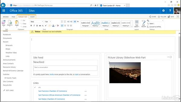 Display images in a slide show: SharePoint Online Essential Training