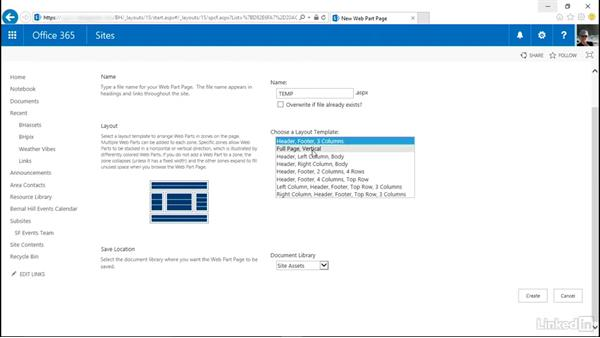 Create a Web Part Page: SharePoint Online Essential Training