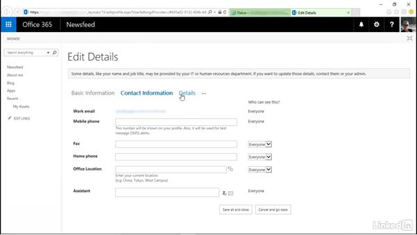 Edit your profile in Delve: SharePoint Online Essential Training