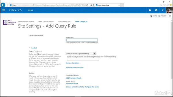 Tweak search results with a query rule: SharePoint Online Essential Training