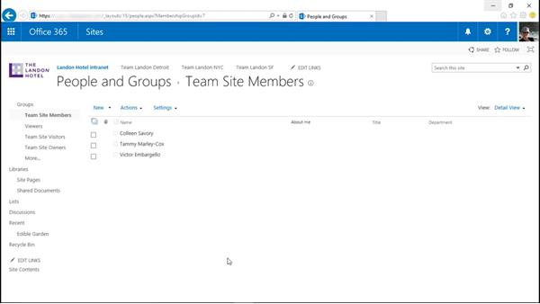 Add a user or group to a security group: SharePoint Online Essential Training